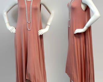Elegant and Chic. Long Summer Maxi Dress Lagenlook Tunic, Hi Lo Tunic Dress, Asymmetrical Tunic Dress, Regular size, Boho, Peach, Sizes M, L
