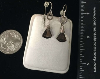 Vintage Sterling Silver Smokey Quartz Earrings - AB