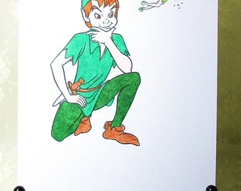 Peter Pan and Tinkerbell Card: Add a Greeting or Leave Blank