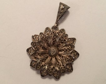 Antique Silver Filigree Flower Floral Pendant for a Necklace
