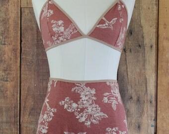 Dusty Rose Lingerie Set, Floral Lingerie, High Waist Panty, Soft Bralette