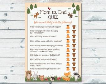 mom vs dad quiz baby shower game woodland mom or dad printable game