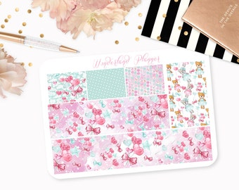 Teddy Bears - Love Heart Themed Planner Stickers // Washi Strips // Perfect for Erin Condren Vertical Life Planner