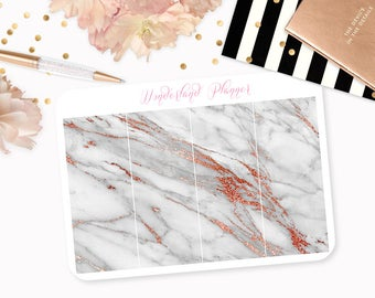 Marble Header Planner Stickers - Grey & Rose Gold Foil Vein // Perfect for Erin Condren Vertical Life Planner