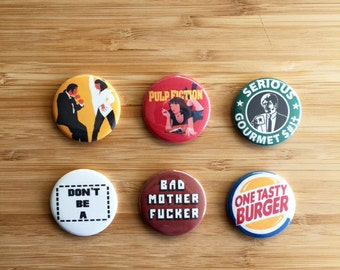 Pulp Fiction Pinback Button Set, Pulp Fiction Birthday Gift, Quentin Tarantino, Samuel L Jackson, 90s Movies, Pulp Fiction Accessory