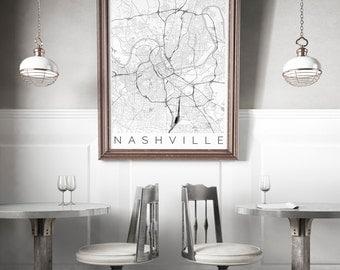 Map of Nashville, Tennessee - Nashville Decor - Map ART - Nashville Poster  - Office Decor - Travel Poster - Nashville Travel Poster