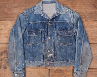 "Levis True Vintage 'Type 2' Big E 507XX Denim Jacket. 1950's. Size Medium 38"" LevisWorn, Patched Repaired. R5568"