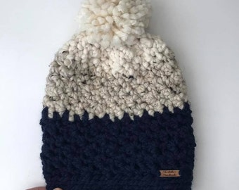 Chunky Crochet Beanie/Pom pom hat/Women's Hat/Beanie