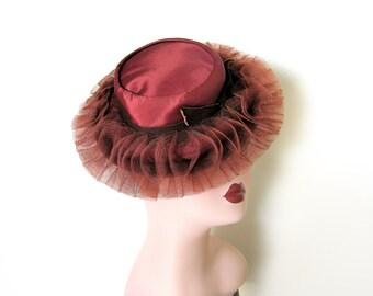 Vintage 1940's Bronze Satin Tilt Hat w/Ruffles/Back Strap~ Luetta Model