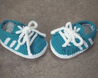 Newborn shoes adidas style-crochet baby shoes-100% cotton-crochet Baby Shoes adidas style