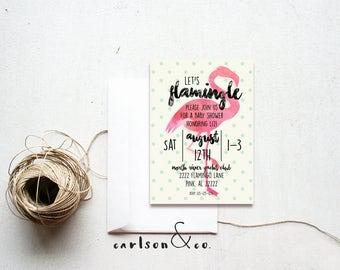 Flamingo Invitation | Baby Shower Invitation | Flamingo Baby Shower Invitation--Digital Printable Draft
