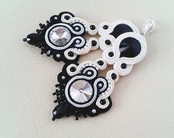 Soutache Earrings black, ivory, white colors- Soutache earrings - Handmade Earrings