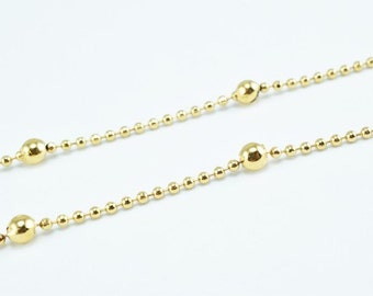New Gold Filled Chain 18K Ball Size 3.5mm Chain Size 1.5mm for Jewelry Making GFC52 Sold by Foot