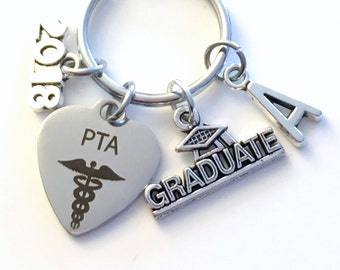 Graduation Gift for PTA Keychain, 2018 Physical Therapist Assistant Therapy Student Key Chain Grad Keyring with Initial letter man 2017 2019