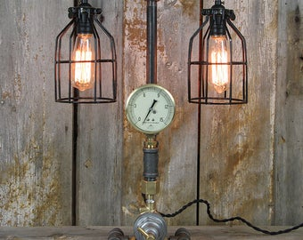 Industrial Table Lamp with Edison Bulbs - Steampunk Desk Lamp - Industrial Lighting #32