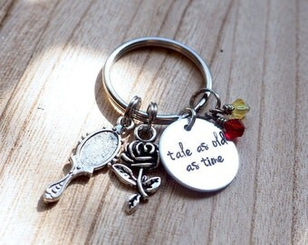 Tale as old as time - Beauty and the Beast inspired keychain - Belle - hand stamped