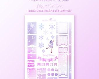 Lovely Winter Stickers, ballerina sticker, full box stickers, diy sticker, pastel stickers, digital printable, erin condren planner
