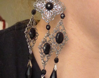 Silver Chandelier Earrings Bohemian Boho Gypsy Gothic Ethnic styles with Swarovski Crystals , OOAK!!!!