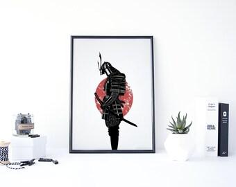 Samurai Art, Samurai Print, Japanese Wall Art, Samurai Artwork, Printable  Japanese Decor Part 24
