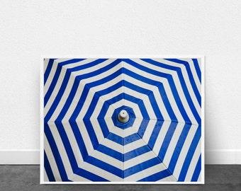 Blue and White Geometric Art Print Umbrella Pattern Beach Decor Nautical Wall Art Navy Indigo Blue Lines Stripes art Printable Poster Boho