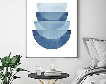 Blue Abstract Watercolor Print Geometric Art Minimalist art Scandinavian Poster Large Blue Wall art Indigo Blue Navy Circles Print Minimal
