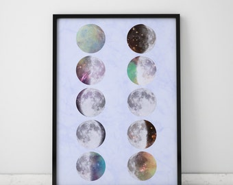 Moon Poster Moon Phases Wall Art Moon Print Large Prints Galaxy Wall Art Moon Phases Print Big Wall Art Space Art Galaxy Print Space Print