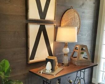 Modern X set wooden wall signs