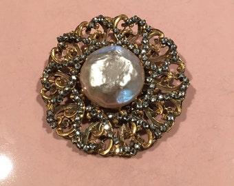Vintage Miriam Haskell Pearl & Rhinestone Pin/Brooch