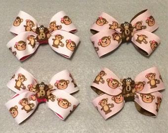 Little Monkey Small Hair Bows (Set of 2) / Monkey Hair Bows / Animal Hair Bows / Small Hair Bows / Mini Hair Bows / Hair Bows