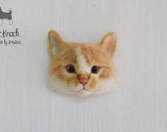Needle felted Wool brooch Red tabby cat face (custom pet portrait) - Cute Kitten - cats jewellery - Felt animals - Kitty pet -MADE TO ORDER