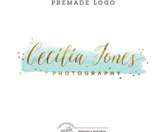 Watercolor Mint&Gold Premade Logo Design, Business Feminine Logo, Watercolor Logo, Feminine Branding, Gold Logo Design, Logo and watermark