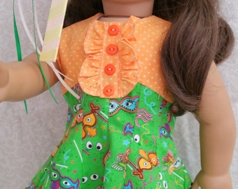 "American Girl or 18 Inch Doll ""Mardi Gras"" Dress and Sandals"