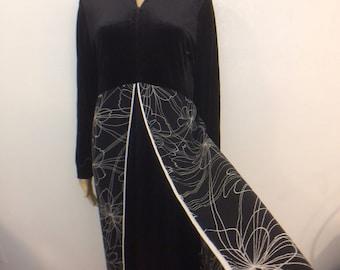Goth Princess VELVET Dress / LONG Empire Waist / Dark Floral / Long Sleeve Dress / Maxi Dress