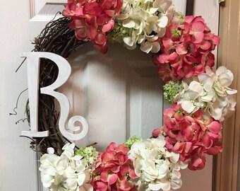 Monogram Hydrangea Wreath, Monogram Door Wreath, Hydrangea Door Wreath, Door Wreath With Initials, Door Wreath With Monogram, Door Wreath