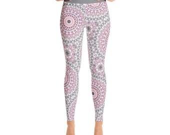 Pink and Gray Yoga Print Leggings Women - Cute Leggings, Yoga Tights, Yoga Pants, Mandala Printed Leggings, Womens Stretch Pants