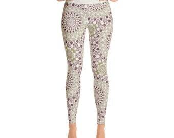 Stretch Yoga Pants Women - Mardi Gras Leggings Printed in Purple and Green Kaleidoscope Pattern