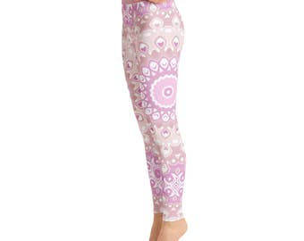 Pink Yoga Pants - Leggings Yoga Pink, Patterned Tights, Yoga Print Tights, Womens Mandala Pants, Art Leggings, Fashion Leggings