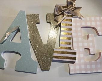 Mint blush gold girls nursery letters - AVIE