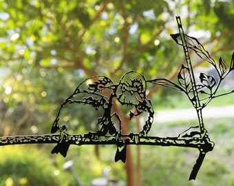 metal bird wall art - metal bird wall decor - love birds art - bird artwork - birds on a branch by ShadoArt Private Collection