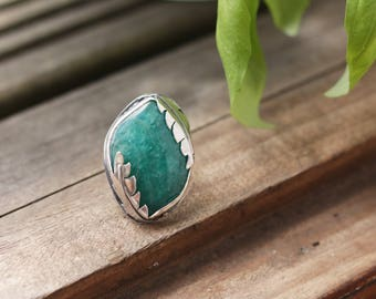 Amazonite Ring, Sterling Silver Ring, Statement Ring, Amazonite Ring, 925 Silver, Sterling Silver Amazonite Ring, Amazonite, SIZE 6 / SIZE M