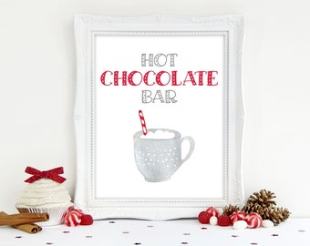 Hot Chocolate Bar Printable Sign 8x10, 5x7,  Hot Cocoa Bar Printable Sign, Holiday Christmas Party Print, Cookie Exchange Decorations
