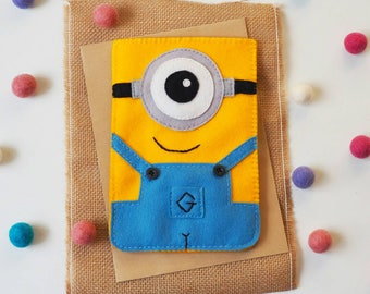 Cute felt gadget cover - iPad case , Tablet case , Kindle case - 100% wool felt cute character , cartoon , yellow blue, gadget sleeve