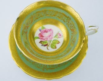 Paragon art deco pink rose center gold etch border tea cup, fancy sage green tea cup and saucer