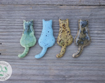 Ceramic cat magnets, cat gift, gift for cat lovers, refrigerator magnets, Turquoise cat, green cat, grey cat, handmade magnet, cat lovers