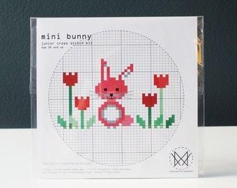 Mini Bunny - Kids Counted Cross Stitch Kit - Easy Beginner Level Cross Stitch Kit