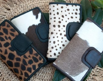 Cowhide Wallet * Leather * Animal Print * Leopard * Fur * Handmade * Bohemian * Boho * Hippie Chic *Gift For Her *Clutch *Little Purse BW023
