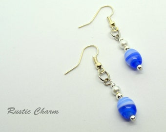 Sea Blue Beaded Dangle Earrings with White Glass Pearls and Silver Accent Beads