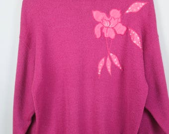 Vintage Sweater, Vintage Knit Pullover, 80s, 90s, flowers, oversized look