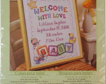 """Baby Blocks - Counted Cross Stitch 9"""" x 11.5"""" - Bucilla 45403 - Birth Record - Cubes pour bebe - Bloques para bebes"""
