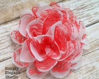 """RED & WHITE- Large Chiffon Lace Flowers, 4"""" Fabric Flowers, Baby Headband Flowers, Flower Supply"""
